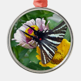 Zebra-Frack+Japanischer Käfer Rundes Silberfarbenes Ornament