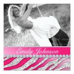 Zebra-Geburtstags-Party-roter rosa Glitter-Schmuck Quadratische 13,3 Cm Einladungskarte