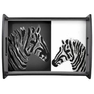 Zebra-gestreifte Schwarzweiss-Kunst Tablett