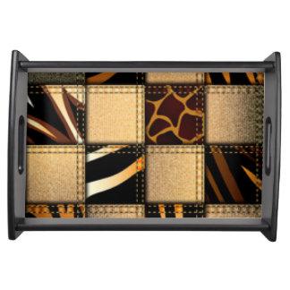 Zebra-Giraffen-Tierdruck-Jeans-Collage Tablett