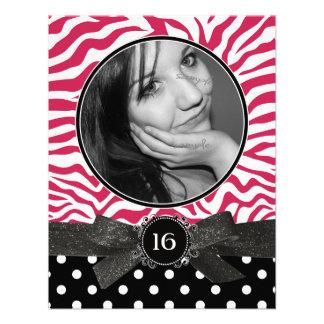 Zebra-Glitter und Rosa des Punkte-Foto-Bonbon-16 Individuelle Ankündigungskarte