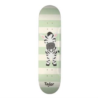 Zebra; Grüne Pastellstreifen Personalisierte Skateboards