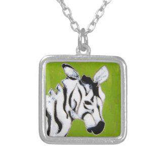 Zebra-Halskette Versilberte Kette