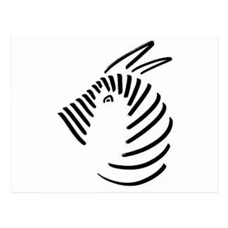 Zebra im einfachen schwarz-auf-weißen Entwurf Postkarte