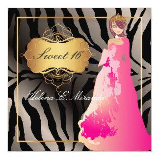 ZEBRA-IMITAT SILVER/Sweet 16/Quinceañera Karte