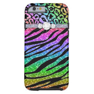 Zebra iPhone 6 starker Regenbogen-Glitter B