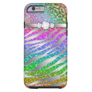 Zebra iPhone 6 starker Regenbogen-Glitzer S Tough iPhone 6 Hülle