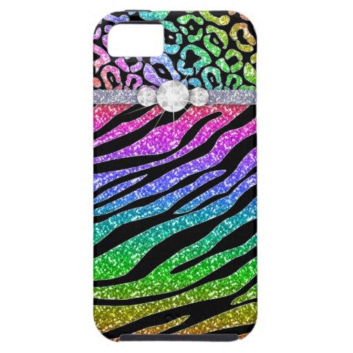 Zebra iPhone Case-Mate-starker Regenbogen-Glitter  iPhone 5 Case