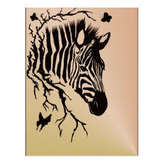 Zebra-Kopf-Entwurfs-Postkarte