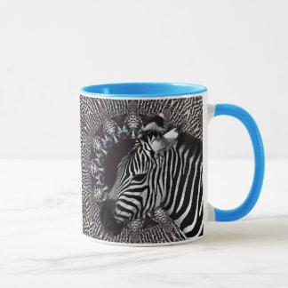 Zebra-Kunst-hellblaue kombinierte Tasse