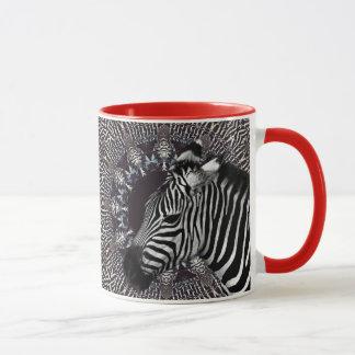 Zebra-Kunst-rote kombinierte Tasse