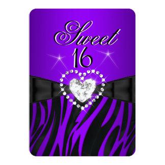 Zebra-lila Bonbon 16 sechzehn Geburtstags-Party 2 Individuelle Einladungskarten