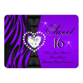 Zebra-lila Bonbon 16 sechzehn Geburtstags-Party 11,4 X 15,9 Cm Einladungskarte