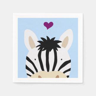 Zebra mit Herzen Serviette