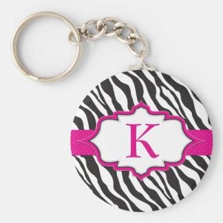 Zebra-Monogramm-Rosa-Band Keychain Standard Runder Schlüsselanhänger