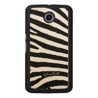 Zebra-Muster-, Schwarze u. weißestreifen, Ihr Name Handyhülle Aus Holz