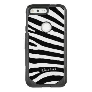Zebra-Muster-, Schwarze u. weißestreifen, Ihr Name OtterBox Commuter Google Pixel Hülle
