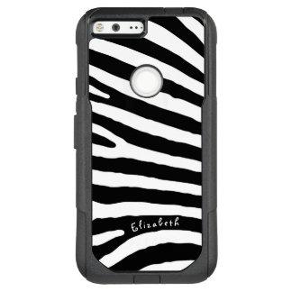 Zebra-Muster-, Schwarze u. weißestreifen, Ihr Name OtterBox Commuter Google Pixel XL Hülle