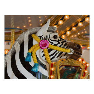 Zebra-Pferdec$fröhlich-c$gehen-runde Poster