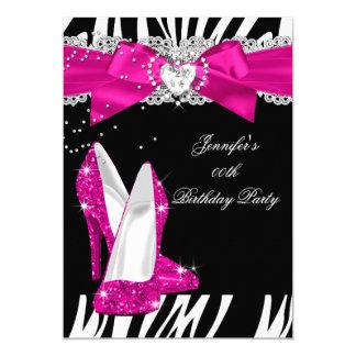 Zebra-Pink-Absatz-Schuh-Schwarz-Geburtstag 4 12,7 X 17,8 Cm Einladungskarte