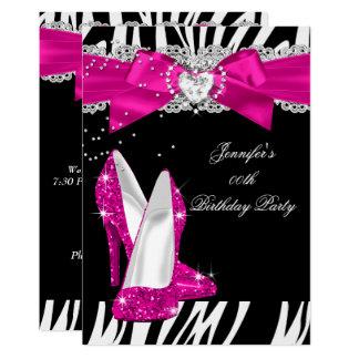 Zebra-Pink-Absatz-Schuh-Schwarz-Geburtstag 4 Karte
