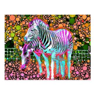 Zebra-Pop-Kunst-Postkarte Postkarte