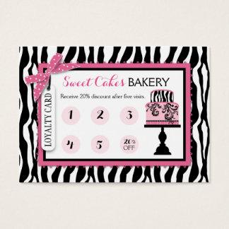 Zebra Print Cake Bakery Business Loyalty Card Visitenkarte