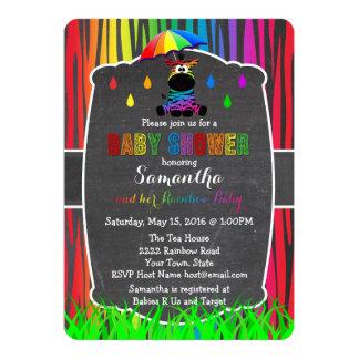 Zebra-Regenbogen-Babyparty-Einladung 12,7 X 17,8 Cm Einladungskarte