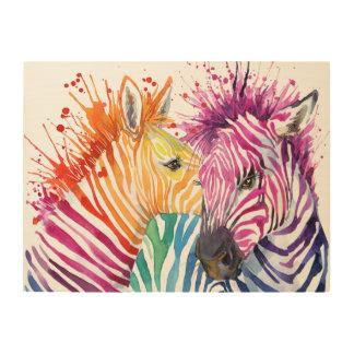 Zebra-Regenbogen-hölzerne Wand-Kunst Holzleinwand