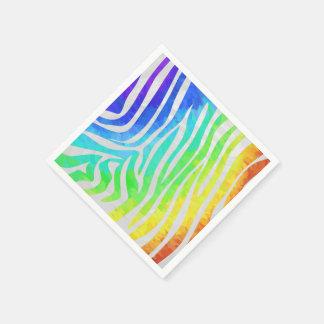 Zebra-Regenbogen und weißer Druck Serviette