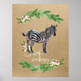 Zebra-Safari-Dschungel-Kinderzimmer-Kunst Poster