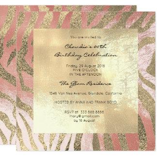 Zebra-Safari-Tierhaut-Rosa-Rose erröten Gold Quadratische 13,3 Cm Einladungskarte
