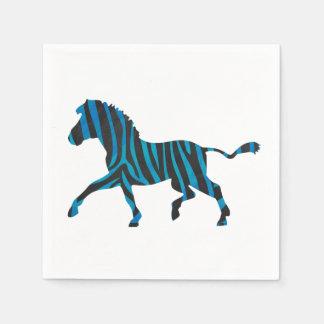 Zebra-schwarze und blaue Silhouette Papierservietten