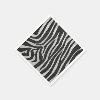Zebra-schwarzer und hellgrauer Druck Serviette