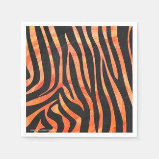 Zebra-schwarzer und orange Druck Papierserviette