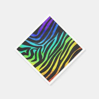 Zebra-Schwarzes und Regenbogen-Druck Serviette