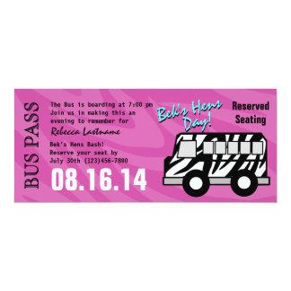 Zebra-Streifen-Bus-Durchlauf-Henne-Party 10,2 X 23,5 Cm Einladungskarte