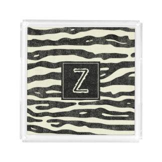Zebra-Streifen-elegantes Monogramm-Tierdruck Acryl Tablett