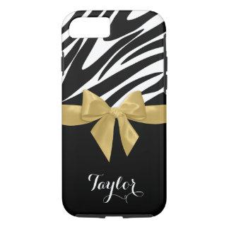 Zebra-Streifen-Goldbogen mit Namen iPhone 8/7 Hülle