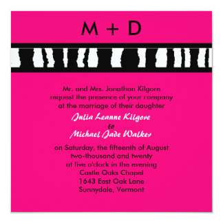 Zebra-Streifen - rosa Hochzeits-Einladung Quadratische 13,3 Cm Einladungskarte