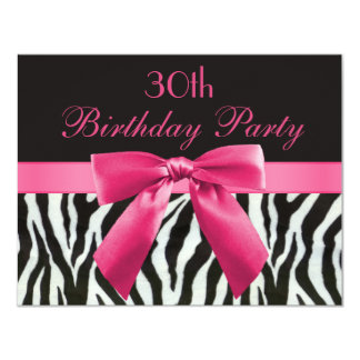 Zebra-Streifen u. Pink druckten Bogen-30. 10,8 X 14 Cm Einladungskarte