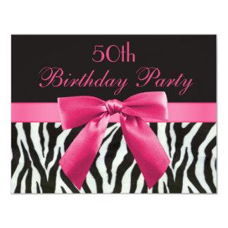 Zebra-Streifen u. Pink druckten Bogen-50. 10,8 X 14 Cm Einladungskarte