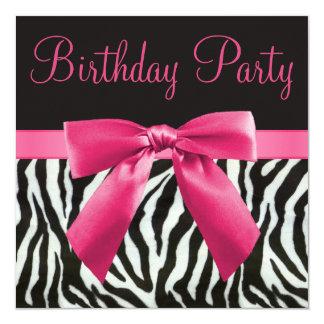 Zebra-Streifen u. rosa Quadratische 13,3 Cm Einladungskarte