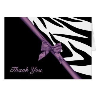 Zebra-Streifen und Band danken Ihnen zu merken Karte