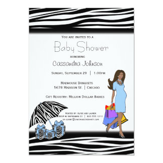 Zebra-Streifen und blaue Afroamerikaner-Mama Karte
