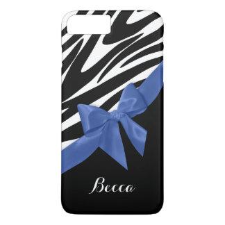 Zebra-Streifen und blauer Bogen mit Namen iPhone 8 Plus/7 Plus Hülle