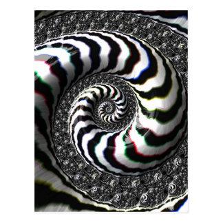 Zebra Stripes Fraktal-gewundenes Muster Postkarte