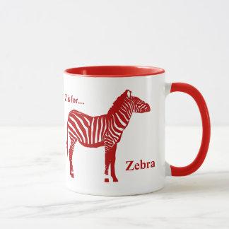Zebra - tiefrot und weiß tasse
