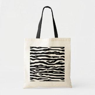 Zebra-Tierdruck-Schwarz-weißes Streifen-Muster Budget Stoffbeutel
