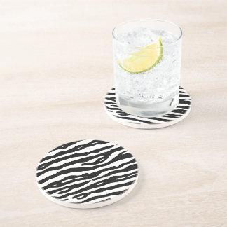 Zebra-Tierdruck-Schwarz-weißes Streifen-Muster Sandstein Untersetzer